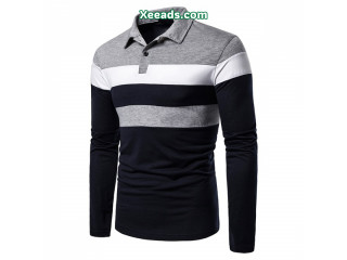 Men's autumn new three-color stitching fashion design