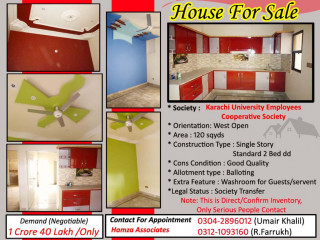 Single story house for sale in KU cooperative society
