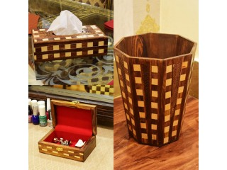 Pack of 3 Wooden Handicraft Items - Jewellery Box, Wooden Basket, Tissue Box