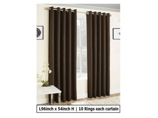 Single pc/panel plain Eyelet/Ring curtain Dark Brown color