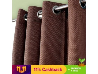Elegant Brown Diamond Emboss Silk Curtain