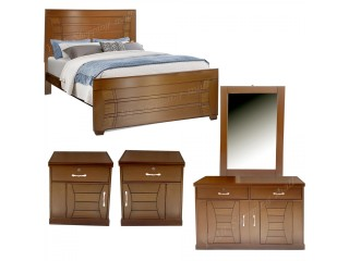Wooden Sheet Double Bed with Side Table High & Dressing Table