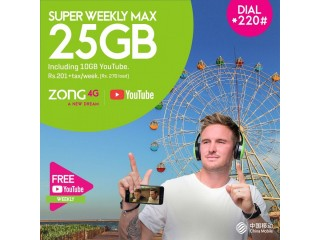 Zong Super Weekly Max 25 GB Internet Package