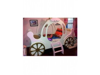Cinderella Cart Kids Bed - Pink/Off White